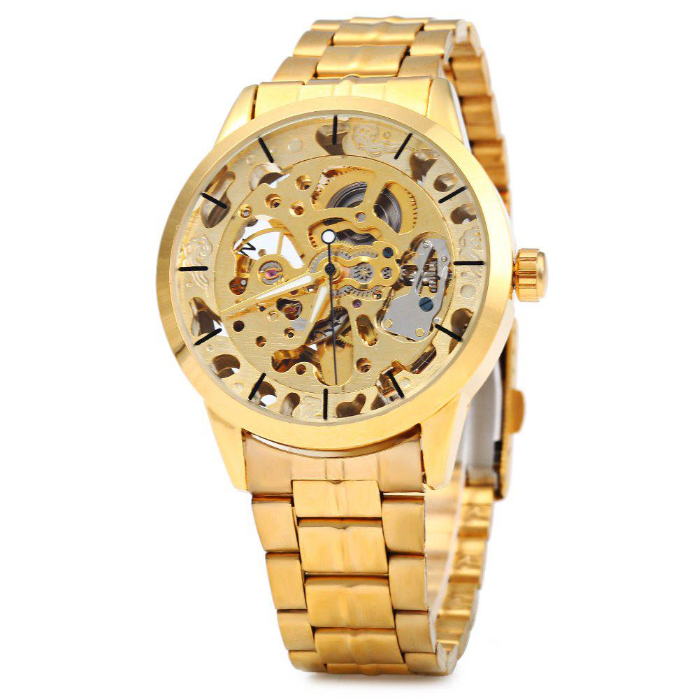 Winner W034 Automatic Mechanical Movement Hollow Out Men Watch Stainless Steel Band - GOLDEN