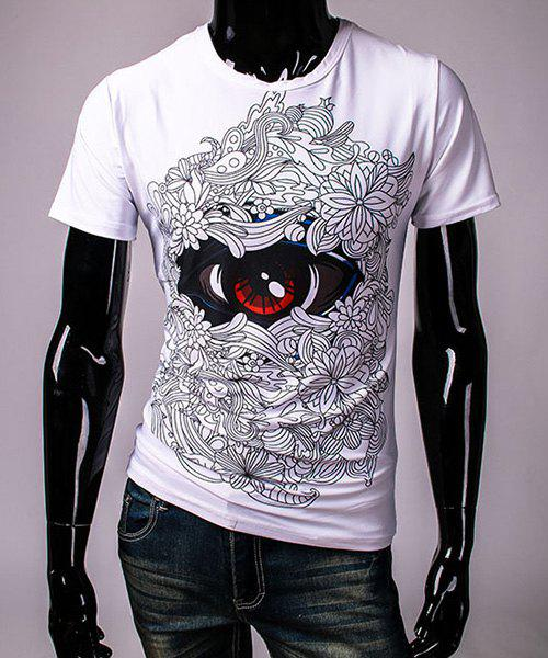 Pullover Round Collar 3D Eye Printing Short Sleeve T-Shirt For Men - WHITE 2XL