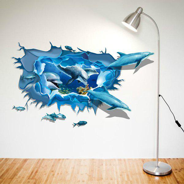 Cool Dolphin Pattern 3D Wall Sticker For Home Decor - BLUE