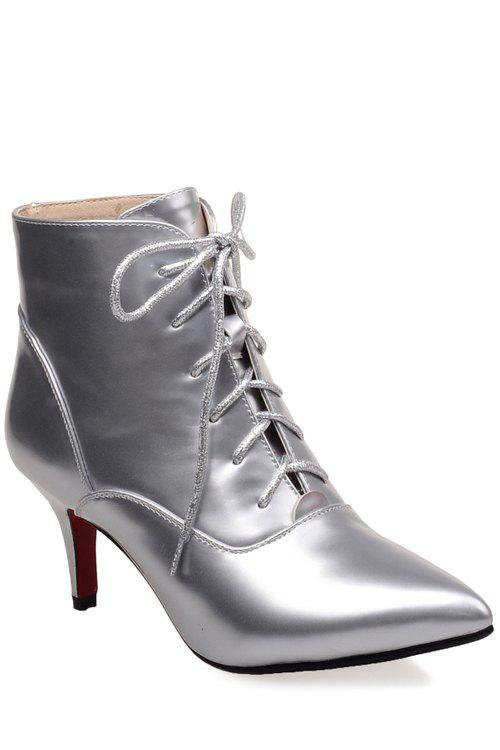 Trendy Pointed Toe and Metallic Color Design Women's Short Boots - SILVER 37