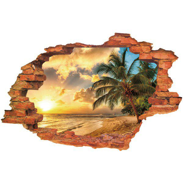 Cool Sunset Design 3D Wall Sticker For Home Decor - YELLOW