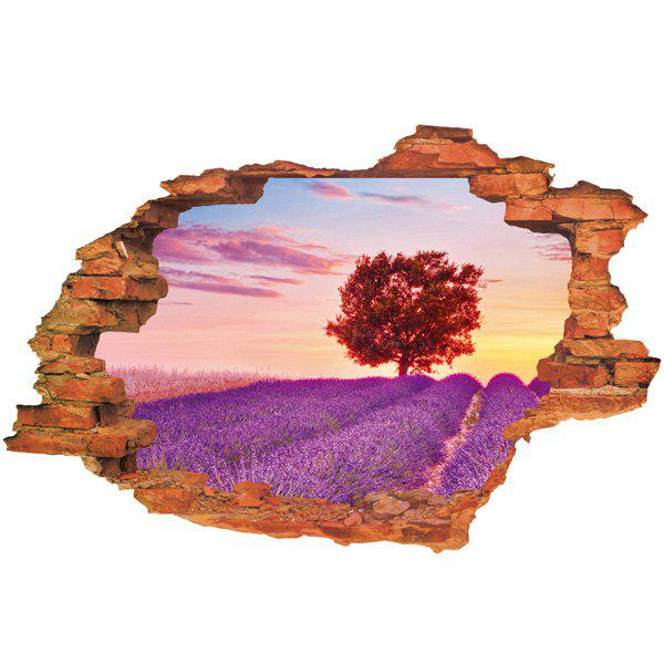 Cool Lavender Pattern Design Removable 3D Wall Sticker For Home Decor - PURPLE