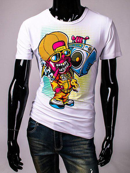 Round Neck Cool Skull Pattern Print Short Sleeve Men's T-Shirt - WHITE XL