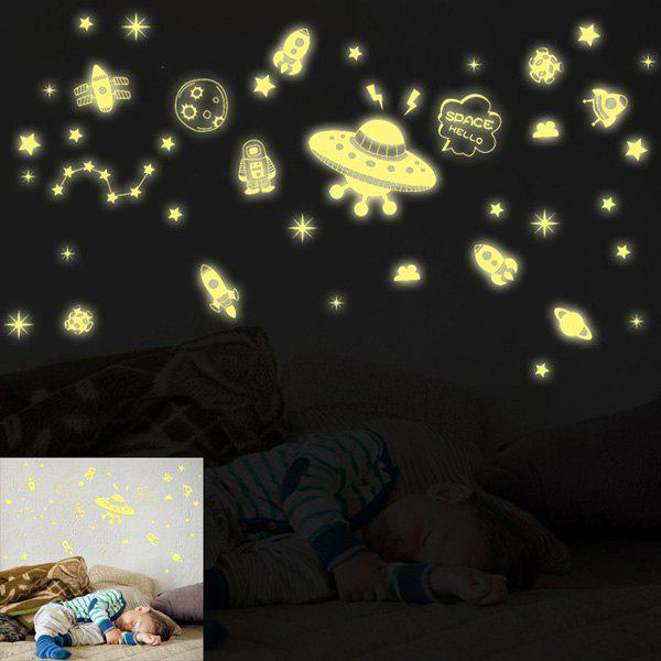 High Quality Spacecraft Pattern Design Removable DIY Wall Sticker - GOLDEN