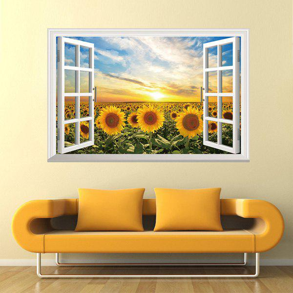 Fashionable Sunflower Pattern Removable 3D Wall Sticker For Home Decor