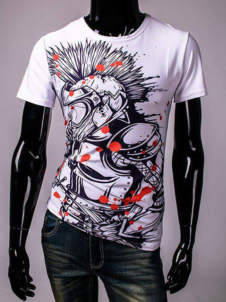 Round Neck Armor Pattern Print Short Sleeve Men's T-Shirt