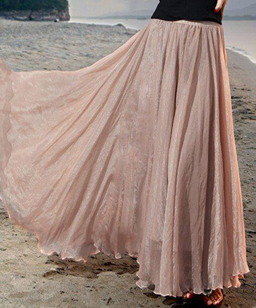 Chic Elastic Waist Chiffon Pure Color Women's Maxi Skirt - NUDE L