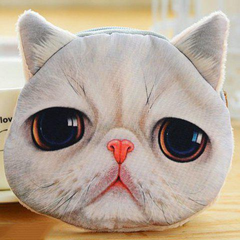 Cute Cat Face and Zipper Design Coin Purse For Women - WHITE