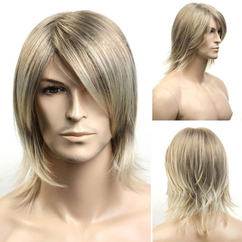 Buy Handsome Medium Side Bang Capless Blonde Mixed Fluffy Straight Men's Synthetic Wig COLORMIX