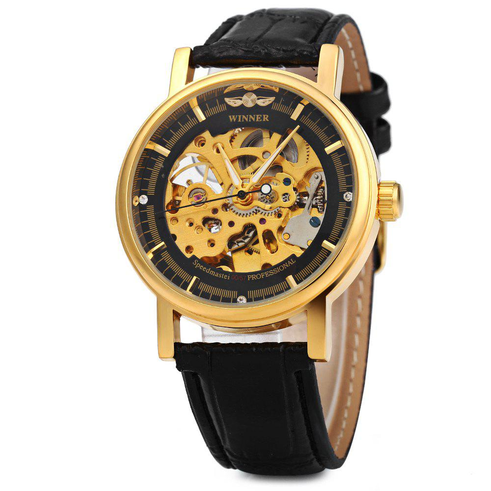 Winner W088 Men Mechanical Hollow Out Watch Leather Band Round Dial - BLACK