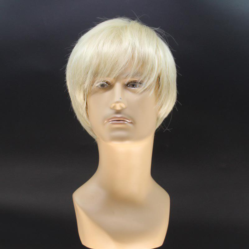 Stylish Short Straight Handsome Light Blonde Men's Heat Resistant Fiber Wig - LIGHT GOLD