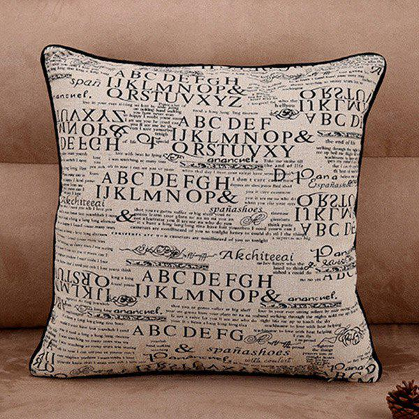 Fashionable Retro Style Letter Pattern Pillow Case (Without Pillow Inner) - SHALLOW FLAXEN