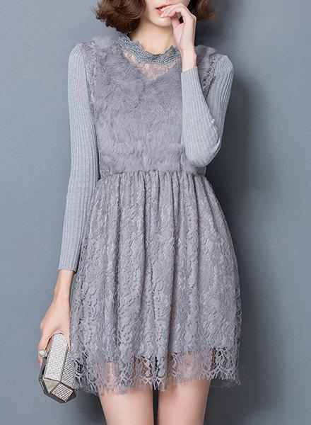 Chic Long Sleeve Ruffled Collar Faux Fur and Solid Color Lace Spliced Women's Dress - GRAY XL