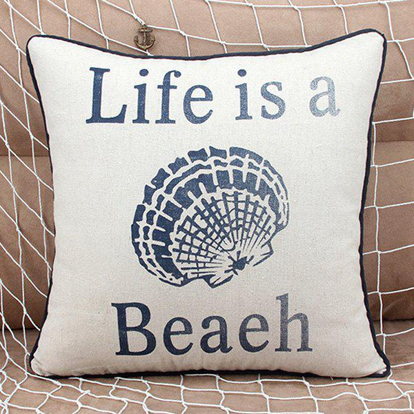 Fashionable Shell and Letter Pattern Pillow Case (Without Pillow Inner) - SHALLOW FLAXEN