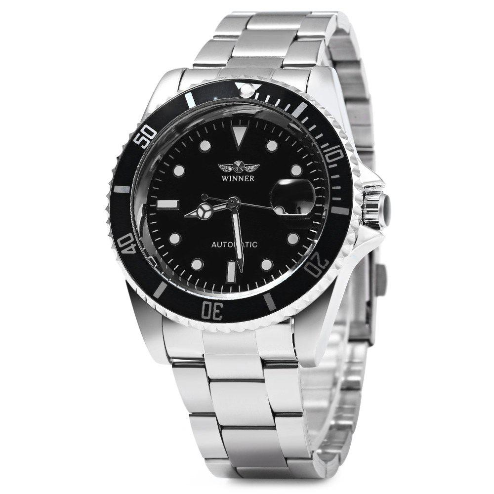 Winner W016 - 1 Automatic Mechanical Movement Men Watch Stainless Steel Band Date Display - BLACK