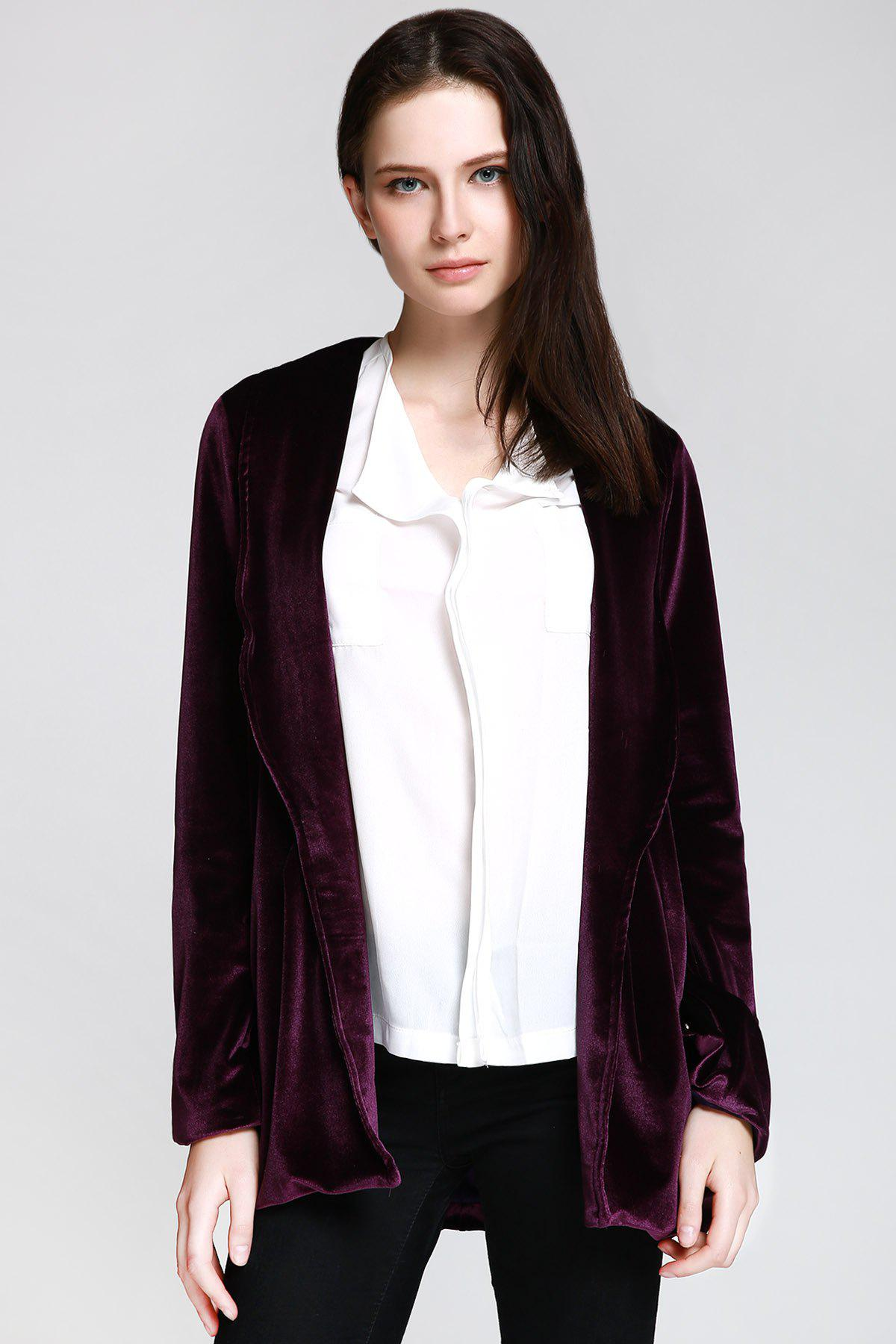 Stylish Shawl Collar Long Sleeve Deep Purple Women's Jacket - DEEP PURPLE S