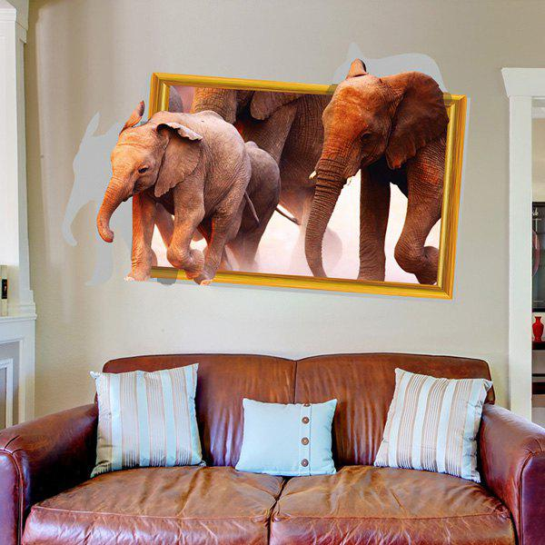 Removable Elephant Pattern 3D Wall Sticker - BROWN