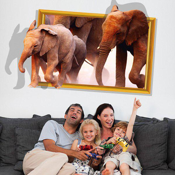 Creative Removable Elephant Pattern 3D Wall Sticker