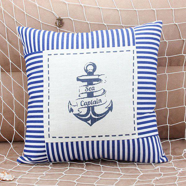 Fashionable Anchor and Letter Pattern Pillow Case (Without Pillow Inner) - BLUE