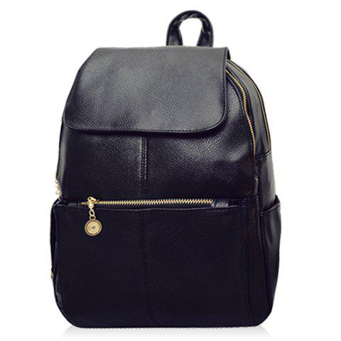 Vintage Style PU Leather and Black Design Backpack For Women
