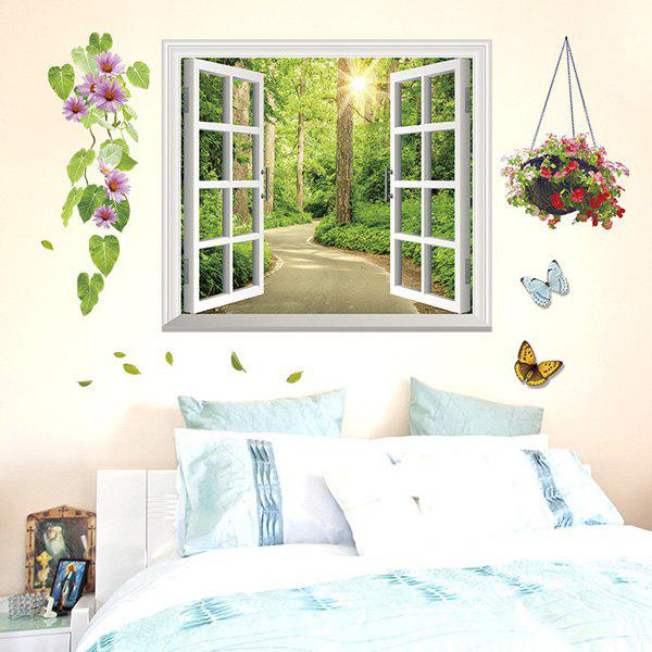 Stylish Alameda Pattern Removable 3D Wall Sticker For Living Room - GREEN