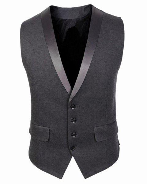 Belt Design Single Breasted V-Neck Sleeveless Solid Color Men's Waistcoat - GRAY L