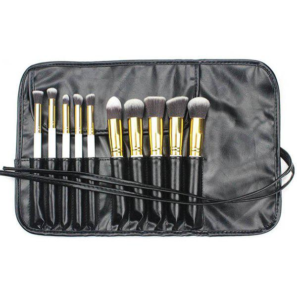 Professional 10 Pcs Nylon Facial Eye Makeup Brushes Set with PU Brush Bag - WHITE