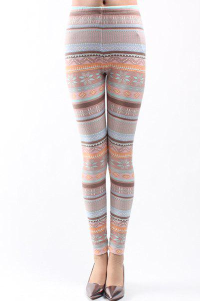 Embroidery Bodycon High Waist Leggings For Women - ROSE L