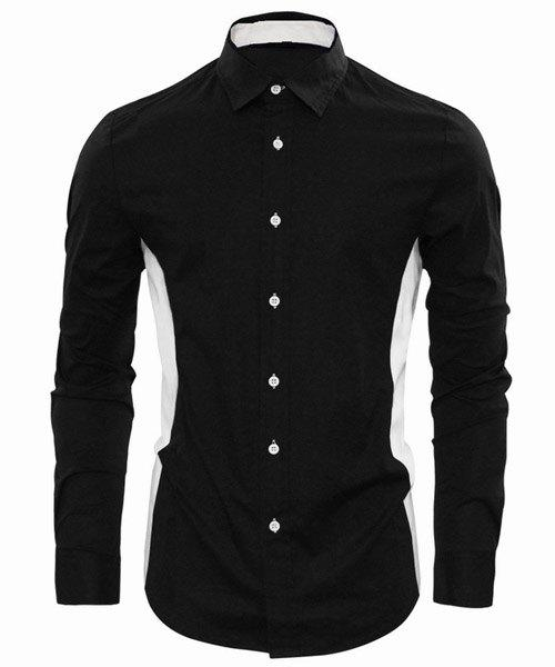 Turn-Down Collar Long Sleeve Color Block Spliced Men's Shirt