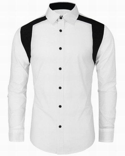 Turn-Down Collar Long Sleeve Color Block Spliced Design Men's Shirt - WHITE 2XL