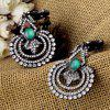 Pair of Faux Crystal Hollow Out Floral Earrings - SILVER