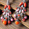 Pair of Faux Crystal Rhinestone Round Bead Tassel Earrings -  ORANGE