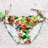Sexy Floral Printed Hollow Out Halter Three-Piece Bikini For Women - GREEN M