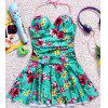 Refreshing Halter Floral Printed Back Hollow Out One-Piece Dress Swimwear For Women - GREEN L