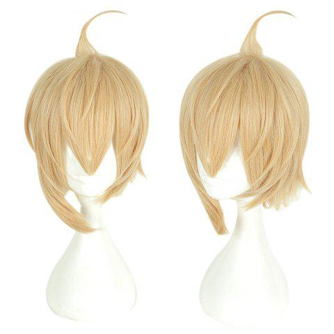 Yellow Short Hair Cosplay Wig Male Party 35 cm Synthetic Hair Wigs - YELLOW 14INCH