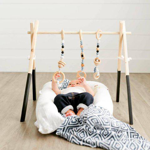 Wood Craft Baby Gym Hand Hand Grip Strength Toy - WHITE