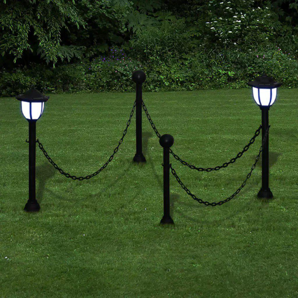 Chain Fence with Solar Lights Two LED Lamps Two Poles   40868 - BLACK