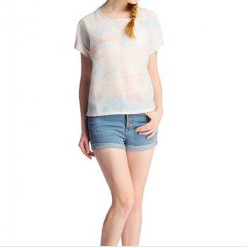 Stylish Women's Scoop Neck Short Sleeves Print Voile T-Shirt - RED S