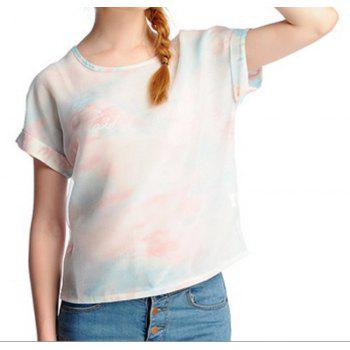 Stylish Women's Scoop Neck Short Sleeves Print Voile T-Shirt
