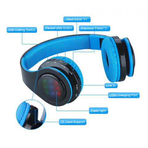 EXCELVAN Folding Wireless Bluetooth LED Stereo Headphones Classic Adjustable Headsets,Great Heavy Bass, FM Radio/ TF Card, with Soft Earpads Earphones Men and Women Boys and Girls Earpieces for iPhone - BLUE