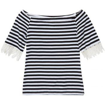 Sweet Women's Boat Neck Short Sleeves Lace Splicing Striped T-Shirt