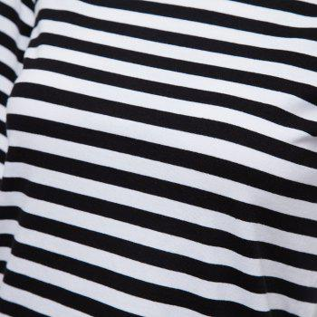 Sweet Women's Boat Neck Short Sleeves Lace Splicing Striped T-Shirt - BLACK M