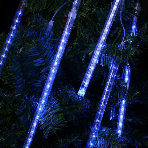 Finether 13.1 ft 8 Tube 144 LED Meteor Shower Rain Snowfall Plug-In String Lights for Holiday Christmas Halloween Party Indoor Outdoor Decoration Commercial Use, Blue Glow - BLUE AC110-220V