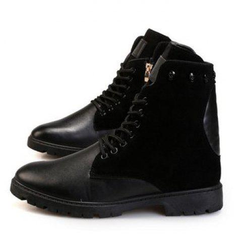 Thick Bottom Heighten Male Martin Boots - BLACK 10(US)