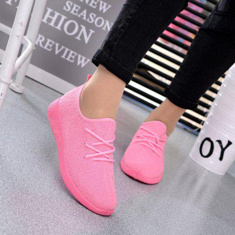 Fly Fabric Leisure Flat Net Casual Shoes - PINK 7(US)
