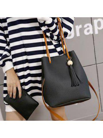 7f4df69be6baa Women s bucket bag style tassel handbag with one shoulder and oblique  straddle