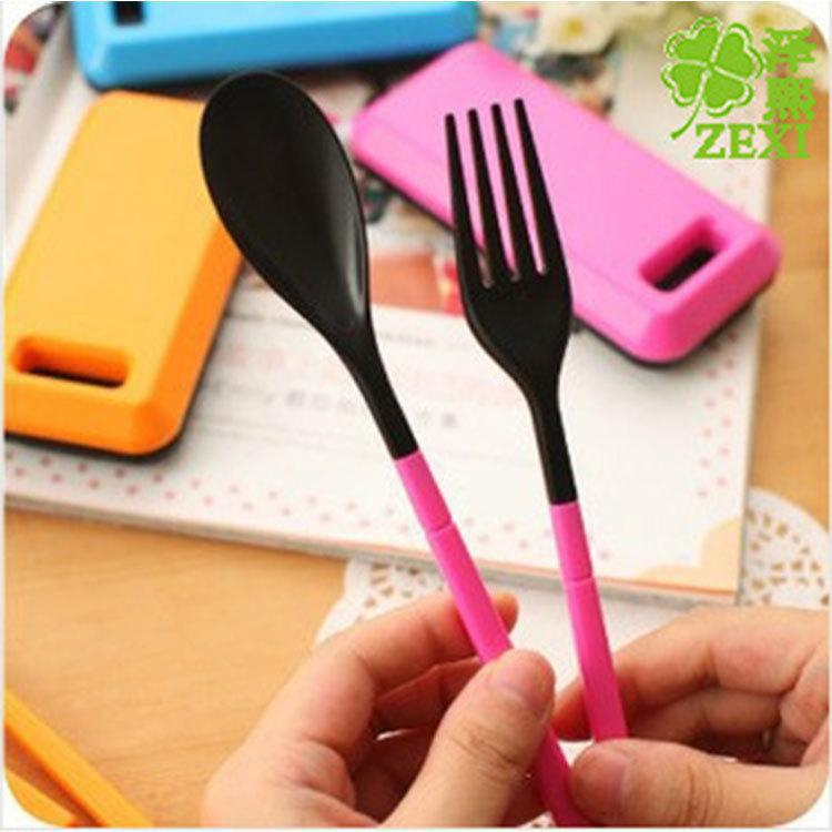 Portable Tableware Sets Creative Dinnerware Tools Travel Folding Combination Spoon Chopsticks Fork - GREEN