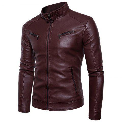 Casual Warm Stand Collar Zip Faux Leather Moto Jacket Zipper Slim Coat - WINE RED L