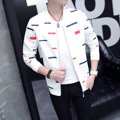 Men Stand Collar Slim Cardigan Coat Jacket - WHITE L