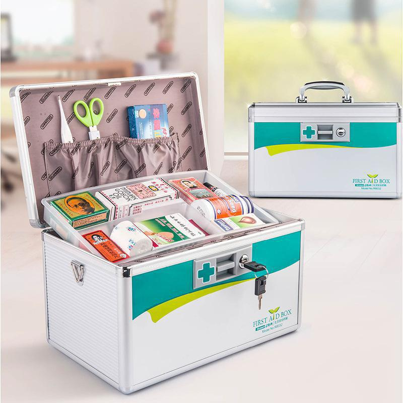 Portable First-aid Alloy Safe Medicine Box 14 inch Household Medical Kit - SILVER